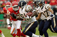 San Diego Chargers running back LaDainian Tomlinson runs for some yards at Arrowhead Stadium  in Kansas City, MO on October 22, 2006. The Chiefs won 30-27.