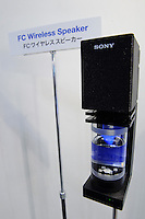 Sony wireless fuel cell speaker, Fuel Cell Expo, Tokyo Big Site, 27 Feb 2009.The expo is the worlds largest hydrogen and fuel cell event. 26,240 people attended over the 25th to 27th February 2009.