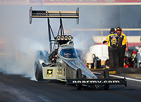 Nov 9, 2018; Pomona, CA, USA; NHRA top fuel driver Tony Schumacher during qualifying for the Auto Club Finals at Auto Club Raceway. Mandatory Credit: Mark J. Rebilas-USA TODAY Sports