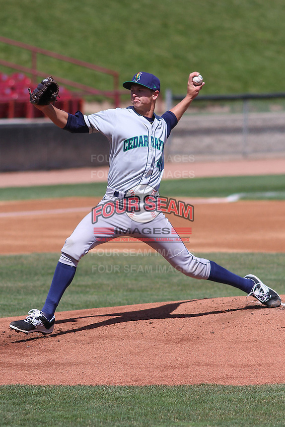 Cedar Rapids Kernels pitcher Stephen Gonsalves (47) delivers a pitch during a game against the Wisconsin Timber Rattlers on April 23rd, 2015 at Fox Cities Stadium in Appleton, Wisconsin.  Cedar Rapids defeated Wisconsin 3-0.  (Brad Krause/Four Seam Images)