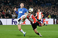 28th November 2019, Rotterdam, Netherlands; Europa League football, Feyenoord versus Glasgow Rangers;  Feyenoord player Orkun Kokcu dives for a header and gets a boot in the head - Editorial Use