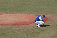30 july 2010: Starting pitcher Samuel Meurant looks dejected after a home run during Sweden 3-2 win over France, in day 6 of the 2010 European Championship Seniors, at TV Cannstatt ballpark, in Stuttgart, Germany.