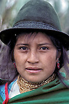 Young Girl Salasaca Girl, Ecuador, South America, wearing traditional clothing & hat
