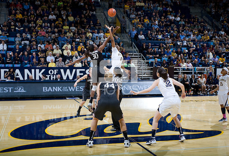 Berkeley, CA - March 4th, 2012: Nnemkadi Ogwumike of Stanford tips off against Reshanda Gray of California during a basketball game against California in Berkeley, California.   Stanford won, 86-61.