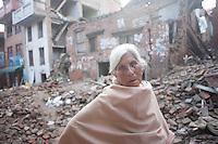 Rammaya Shrestha, 92, a Shanku resident, near Kathmandu, Nepal. May 9, 2015