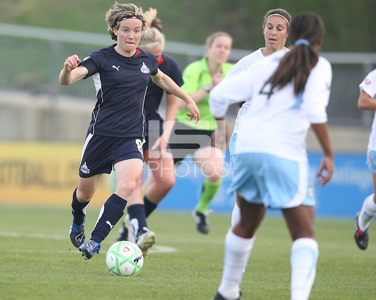 Sonia Bompastor (8) of the Washington Freedom moves the ball towards Ifeoma Dieke (4) of the Chicago Red Stars during a WPS match at Maryland Soccerplex on April 11 2009, in Boyd's, Maryland.  The game ended in a 1-1 tie.