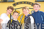FOOTBALL FUN: Enjoying the football at the Listowel Emmets grounds on Sunday l-r: Sean Hannon, Adam O'Rourke, Jack Wall and Kieran Enright.
