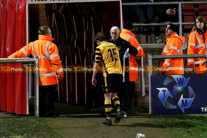 Stuart Lewis of Maidstone leaves the pitch after being shown a red card during Dagenham & Redbridge vs Maidstone United , Vanarama National League Football at the Chigwell Construction Stadium on 28th February 2017