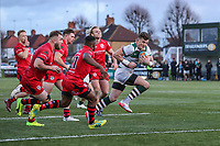 Peter LYDON of Ealing Trailfinders (right) breaks free to scores his team's third try during the Greene King IPA Championship match between Ealing Trailfinders and Jersey Reds at Castle Bar , West Ealing , England  on 22 December 2018. Photo by David Horn.