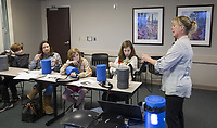 Velvet Shoults, Northwest Health trauma program manager, leads a Stop the Bleed class Wednesday, Feb. 26, 2020, at Northwest Medical Center in Bentonville. The class, free for the public, taught participants how to use stop bleeding and save lives after a traumatic injury. Go to nwaonline.com/photos to see more photos.<br />