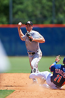 GCL Marlins second baseman Mathew Brooks (8) throws to first as Rigoberto Terrazas (11) slides in during a game against the GCL Mets on August 12, 2016 at St. Lucie Sports Complex in St. Lucie, Florida.  GCL Marlins defeated GCL Mets 8-1.  (Mike Janes/Four Seam Images)
