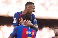 FC Barcelona's Luis Suarez and Neymar Santos Jr during the La Liga match between Futbol Club Barcelona and Deportivo de la Coruna at Camp Nou Stadium Spain. October 15, 2016. (ALTERPHOTOS/Rodrigo Jimenez) NORTEPHOTO.COM