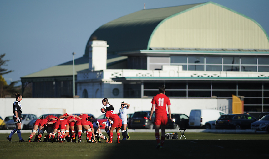 Swansea's historic Patti Pavilion provides the backdrop to an English scrum<br /> <br /> Photographer Kevin Barnes/CameraSport<br /> <br /> International Womens Rugby Union - 2015 RBS 6 Nations Championship - Wales Women v England Women - Sunday 8th February 2015 - St Helen's - Swansea<br /> <br /> &copy; CameraSport - 43 Linden Ave. Countesthorpe. Leicester. England. LE8 5PG - Tel: +44 (0) 116 277 4147 - admin@camerasport.com - www.camerasport.com