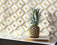 Beaton, a hand-cut and waterjet stone mosaic, shown in polished Cirrus, Calcatta Gold, tumbled Thassos, brushed Brass, is part of the Bright Young Things™ collection by New Ravenna.