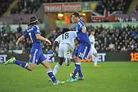 SWANSEA, WALES - JANUARY 17:   of  during the Barclays Premier League match between Swansea City and Chelsea at Liberty Stadium on January 17, 2015 in Swansea, Wales. Bafetimbi Gomis takes a tumble