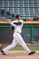Roger Kieschnick (33) of the Salt Lake Bees at bat against the Tacoma Rainiers in Pacific Coast League action at Smith's Ballpark on May 7, 2015 in Salt Lake City, Utah. The Bees defeated the Rainiers 11-4 in the completion of the game that was suspended due to weather on May 6, 2015. (Stephen Smith/Four Seam Images)