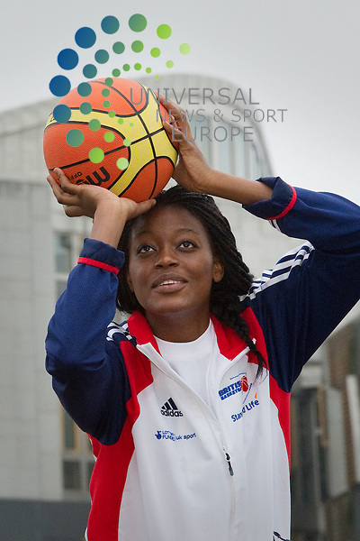 GB and Canada Women's Olympic basketball teams meet at a reception at Dynamic Earth ahead of their game at Meadowbank Stadium at the weekend, Edinburgh, Scotland, 8th June, 2012. Pictured Temitope Fagbenie, GB Team..Picture:Scott Taylor Universal News And Sport (Europe) .All pictures must be credited to www.universalnewsandsport.com. (Office)0844 884 51 22.