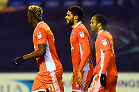 Blackpool's Kelvin Mellor celebrates scoring his side's second goal with his team-mates<br /> <br /> Photographer Richard Martin-Roberts/CameraSport<br /> <br /> The EFL Sky Bet League One - Wigan Athletic v Blackpool - Tuesday 13th February 2018 - DW Stadium - Wigan<br /> <br /> World Copyright &not;&copy; 2018 CameraSport. All rights reserved. 43 Linden Ave. Countesthorpe. Leicester. England. LE8 5PG - Tel: +44 (0) 116 277 4147 - admin@camerasport.com - www.camerasport.com