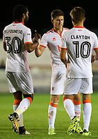 Blackpool's Daniel Philliskirk celebrates scoring his side's first goal with teammates Nathan Delfouneso and Max Clayton<br /> <br /> Photographer Alex Dodd/CameraSport<br /> <br /> EFL Checkatrade Trophy - Northern Section Group B - Accrington Stanley v Blackpool - Tuesday 3rd October 2017 - Crown Ground - Accrington<br />  <br /> World Copyright &copy; 2018 CameraSport. All rights reserved. 43 Linden Ave. Countesthorpe. Leicester. England. LE8 5PG - Tel: +44 (0) 116 277 4147 - admin@camerasport.com - www.camerasport.com