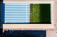 Torino 22 April 2020<br /> <br /> Swimming pool <br /> Aerial views of empty sports fields, in the city of Turin and its province, due to the total lockdown imposed by the Italian government at all levels of sports for the Coronavirus pandemic (covid19) in 2020. <br /> <br /> Viste col drone di campi sportivi della città di Torino e della sua provincia deserti, nel weekend ed in settimana a causa del lockdown totale imposto dal governo Italiano dello sport a tutti i livelli per la pandemia del Coronavirus (covid19). <br /> <br /> Photo: Federico Tardito / Insidefoto