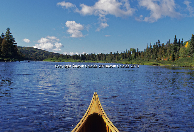 Bow of canoe on the Allagash River, Allagash Wilderness Waterway, Maine, USA