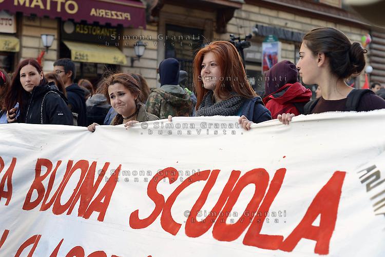 Roma, 12 Marzo 2015<br /> Manifestazione contro la Buona scuola del Governo Renzi nel giorno della discussione della riforma scuola in Consiglio dei Ministri