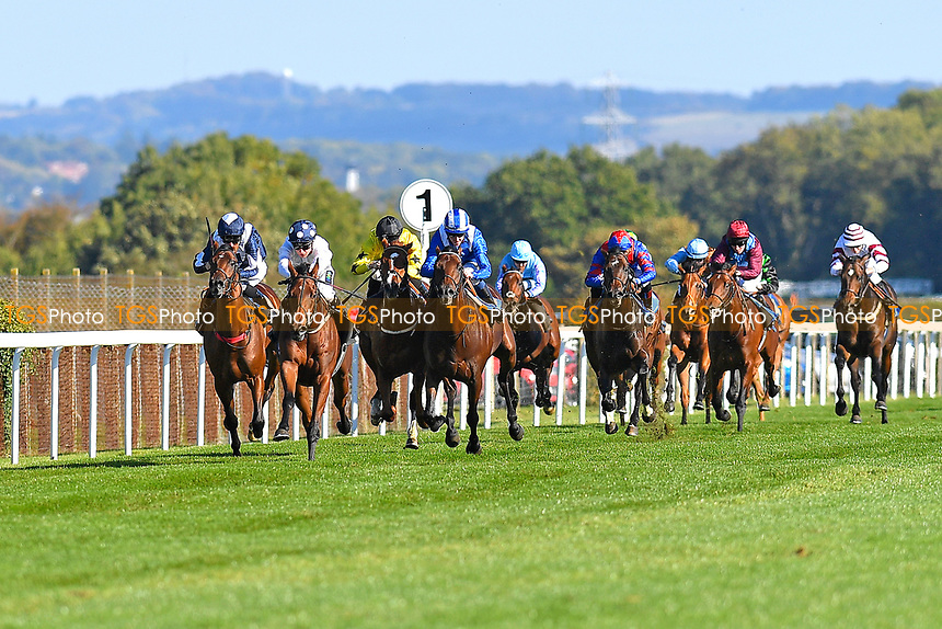 Winner of The Radcliffe & Co EBF Novice Stakes Div 2 Clara Peters  (white) ridden by Jason Watson and trained by Gary Moore make their move at the furlong marker during Afternoon Racing at Salisbury Racecourse on 3rd October 2018