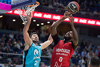 Movistar Estudiantes Goran Sutton and Montakit Fuenlabrada Gabe Olaseni during Liga Endesa match between Movistar Estudiantes and Montakit Fuenlabrada at Wizink Center in Madrid, Spain. November 12, 2017. (ALTERPHOTOS/Borja B.Hojas) /NortePhoto.com