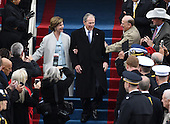 Former President George W. Bush and wife Laura walk down the steps during the Inauguration Ceremony of President Donald Trump on the West Front of the U.S. Capitol on January 20, 2017 in Washington, D.C.  Trump became the 45th President of the United States.       <br /> Credit: Pat Benic / Pool via CNP