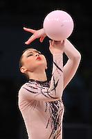 "ALINA MAKSYMENKO  of Ukraine performs in Event Finals at 2011 World Cup Kiev, ""Deriugina Cup"" in Kiev, Ukraine on May 8, 2011."