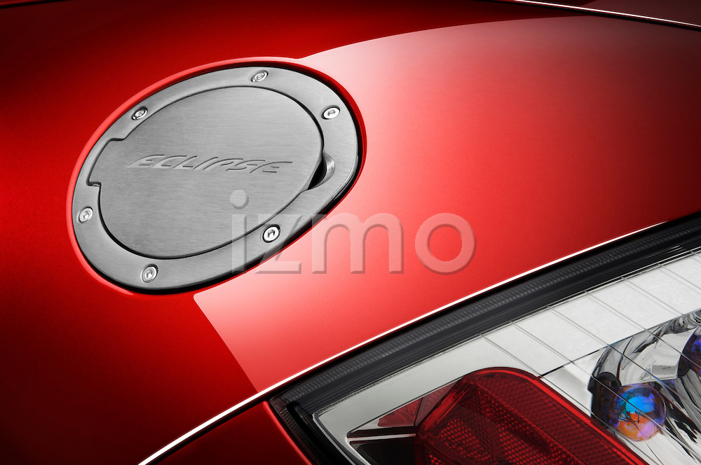 Closeup detail of the gas cap on a 2009 Mitsubishi Eclipse Spyder Convertible Coupe