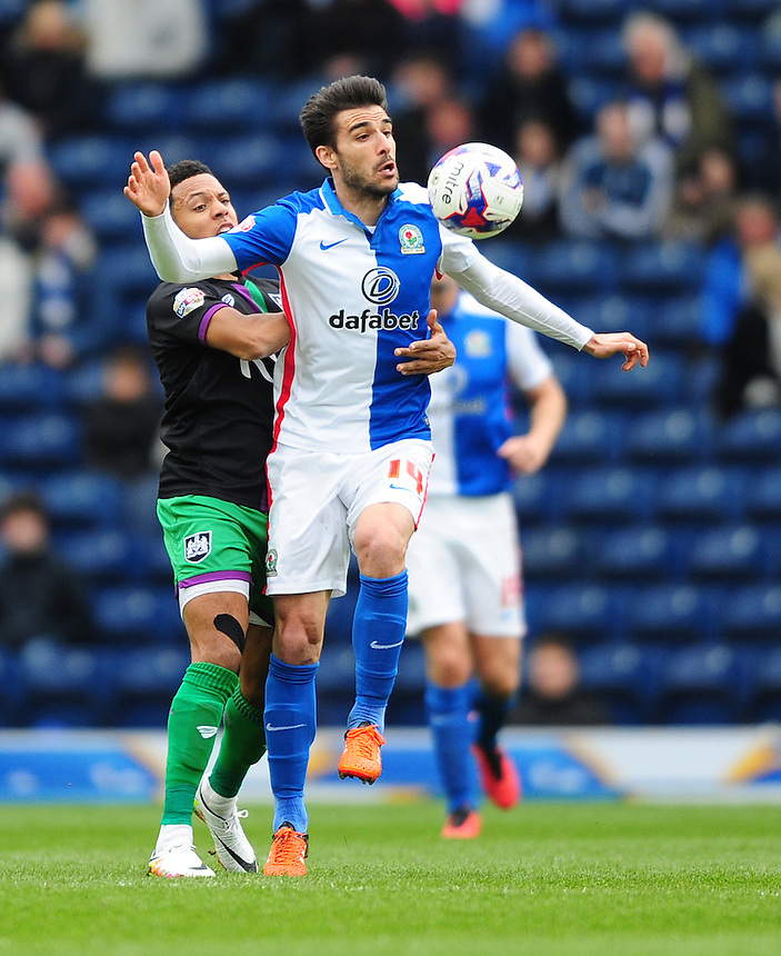Blackburn Rovers&rsquo; Jordi Gomez vies for possession with Bristol City's Korey Smith<br /> <br /> Photographer Chris Vaughan/CameraSport<br /> <br /> Football - The Football League Sky Bet Championship - Blackburn Rovers v Bristol City - Saturday 23rd April 2016 - Ewood Park - Blackburn <br /> <br /> &copy; CameraSport - 43 Linden Ave. Countesthorpe. Leicester. England. LE8 5PG - Tel: +44 (0) 116 277 4147 - admin@camerasport.com - www.camerasport.com