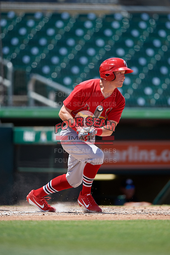 Palm Beach Cardinals designated hitter Conner Capel (8) follows through on a swing during a game against the Jupiter Hammerheads on August 5, 2018 at Roger Dean Chevrolet Stadium in Jupiter, Florida.  Jupiter defeated Palm Beach 3-0.  (Mike Janes/Four Seam Images)