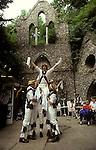 Whitechurch Morris Dancers, Wingrave Buckinghamshire, dancing before the church rush bearing ceremony. 1990s.