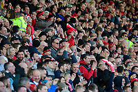 Lincoln City fans celebrate their teams goal, scored by Shay McCartan<br /> <br /> Photographer Chris Vaughan/CameraSport<br /> <br /> The EFL Sky Bet League Two - Lincoln City v Cheltenham Town - Saturday 13th April 2019 - Sincil Bank - Lincoln<br /> <br /> World Copyright &copy; 2019 CameraSport. All rights reserved. 43 Linden Ave. Countesthorpe. Leicester. England. LE8 5PG - Tel: +44 (0) 116 277 4147 - admin@camerasport.com - www.camerasport.com