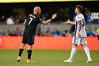 SAN JOSE, CA - JULY 16: Magnus Eriksson #7 of the San Jose Earthquakes and Diego Alende #30 of Real Valladolid after a friendly match between the San Jose Earthquakes and Real Valladolid on July 16, 2019 at Avaya Stadium in San Jose, California.