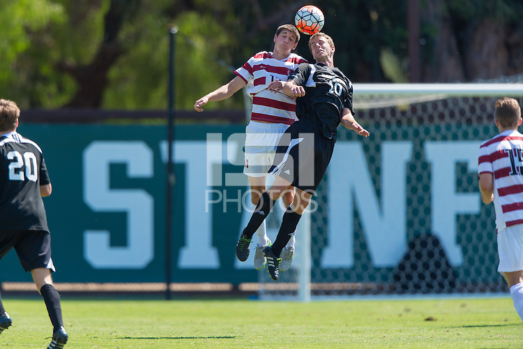 Stanford, CA - September 20, 2015: Drew Skundrich during the Stanford vs Davidson men's soccer match in Stanford, California.  The Cardinal defeated the Wildcats 1-0 in overtime.