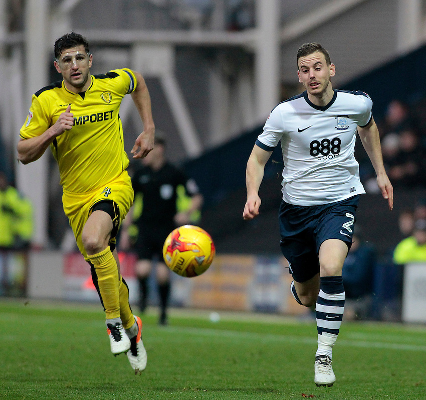 Preston North End's Marnick Vermijl gets away from Burton Albion's John Mousinho<br /> <br /> Photographer David Shipman/CameraSport<br /> <br /> The EFL Sky Bet Championship - Preston North End v Burton Albion - Saturday 26th November 2016 - Deepdale<br /> <br /> World Copyright &copy; 2016 CameraSport. All rights reserved. 43 Linden Ave. Countesthorpe. Leicester. England. LE8 5PG - Tel: +44 (0) 116 277 4147 - admin@camerasport.com - www.camerasport.com
