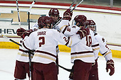 JD Dudek (BC - 15), Scott Savage (BC - 2), David Cotton (BC - 17), Colin White (BC - 18), Austin Cangelosi (BC - 9) - The Boston College Eagles defeated the University of Vermont Catamounts 7-4 on Saturday, March 11, 2017, at Kelley Rink to sweep their Hockey East quarterfinal series.The Boston College Eagles defeated the University of Vermont Catamounts 7-4 on Saturday, March 11, 2017, at Kelley Rink to sweep their Hockey East quarterfinal series.