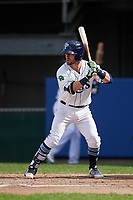 Princeton Rays second baseman Jake Palomaki (1) at bat during the second game of a doubleheader against the Greeneville Reds on July 25, 2018 at Hunnicutt Field in Princeton, West Virginia.  Greeneville defeated Princeton 8-7.  (Mike Janes/Four Seam Images)