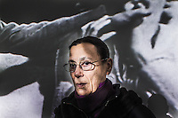 """Yvonne Rainer stands in front of the installation of her """" Space, Body, Language"""" exhibition at the Kunsthaus in Bregenz. Rainer is an American dancer, choreographer and filmmaker, whose work in these disciplines is frequently challenging and experimental. Her work is classified as minimalist art. ©Miro Kuzmanovic"""