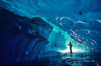 Exploring Glacial Ice Cave, Alaska, Glacier Bay National Park, Alaska.AGPix_0014