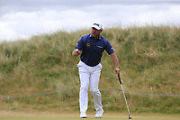 Lee Westwood (ENG) sinks his putt on the ist green during Saturday's Round 3 of the 2018 Dubai Duty Free Irish Open, held at Ballyliffin Golf Club, Ireland. 7th July 2018.<br /> Picture: Eoin Clarke | Golffile<br /> <br /> <br /> All photos usage must carry mandatory copyright credit (&copy; Golffile | Eoin Clarke)
