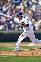 Texas Rangers pitcher Jesse Chavez (30) delivers a pitch during a Cactus League Spring Training game against the Los Angeles Dodgers on March 8, 2020 at Surprise Stadium in Surprise, Arizona. Rangers defeated the Dodgers 9-8. (Tracy Proffitt/Four Seam Images)
