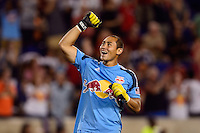 New York Red Bulls goalkeeper Luis Robles (31) celebrates at the final whistle. The New York Red Bulls defeated Real Salt Lake 4-3 during a Major League Soccer (MLS) match at Red Bull Arena in Harrison, NJ, on July 27, 2013.
