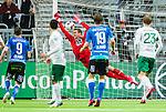 Stockholm 2015-05-30 Fotboll Allsvenskan Hammarby IF - Halmstads BK :  <br /> Halmstads  Christoffer Andersson g&ouml;r 1-1 p&aring; frispark bakom Hammarbys m&aring;lvakt Tim Markstr&ouml;m under matchen mellan Hammarby IF och Halmstads BK <br /> (Foto: Kenta J&ouml;nsson) Nyckelord:  Fotboll Allsvenskan Tele2 Arena Hammarby HIF Bajen Halmstad Halmstads BK HBK jubel gl&auml;dje lycka glad happy