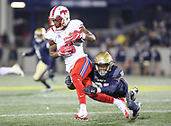 Annapolis, MD - November 11, 2017: Southern Methodist Mustangs wide receiver James Proche (3) catches a pass during the game between SMU and Navy at  Navy-Marine Corps Memorial Stadium in Annapolis, MD.   (Photo by Elliott Brown/Media Images International)