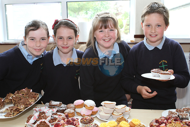 Sarah Reynolds, Ciara Callan, Rebecca Kelly and Jack McGuill at the Cake Sale in Scoil Bhride NS, Dunleer....Photo NEWSFILE/Jenny Matthews.