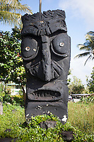 Carved stone tiki statue in Kalapana, Big Island, Hawaii