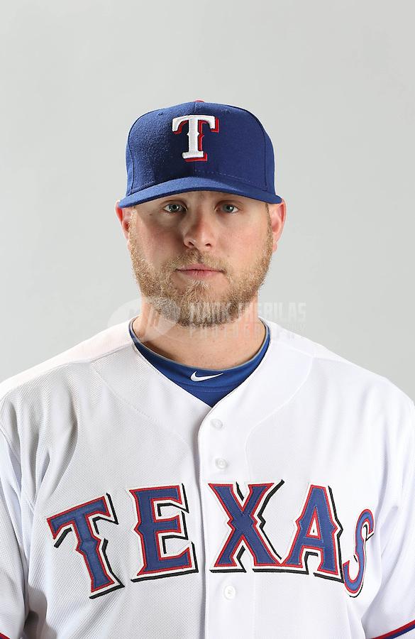 Feb. 20, 2013; Surprise, AZ, USA: Texas Rangers pitcher Evan Meek poses for a portrait during photo day at Surprise Stadium. Mandatory Credit: Mark J. Rebilas-